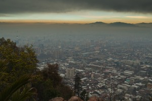 This is the view of Santiago from Cerro San Cristobal, a nice hill to hike in the city.