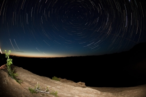 This is a star trail I shot from our last trip to Moab!